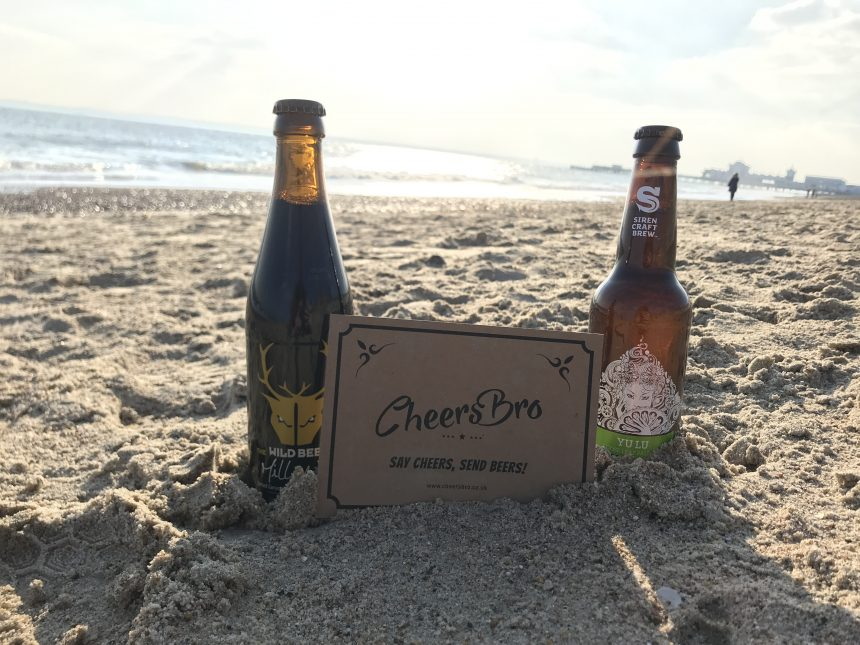 Cheers Bro beers and gift card on the beach
